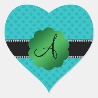 Monogram turquoise shamrocks heart sticker