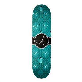 Monogram turquoise snowman trellis pattern skate deck