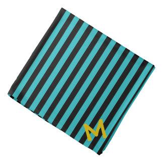 Monogram Turquoise Stripe Pattern Bandana