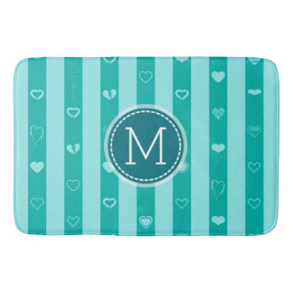 Monogram Turquoise Stripes Modern Heart Pattern Bath Mat