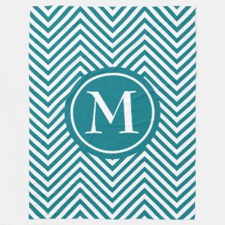 Monogram Turquoise & White Zigzag - Fleece Blanket
