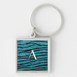 Monogram turquoise zebra stripes key chains