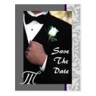 Monogram Tuxedo Groom Save The Date Postcard