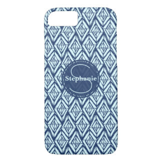Monogram two tone Blue Modern Geometric Diamonds iPhone 8/7 Case