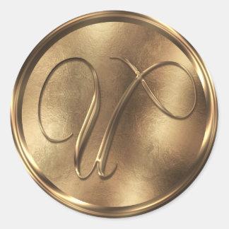 Monogram U Bronze Round Sticker