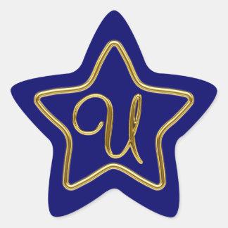 Monogram U in 3D gold Sticker