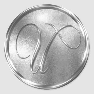 Monogram U NONMETALLIC Silver Envelope Seal Round Sticker
