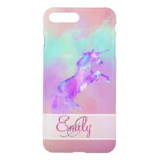 Monogram Unicorn Cute Pink Teal Purple Watercolors iPhone 8 Plus/7 Plus Case
