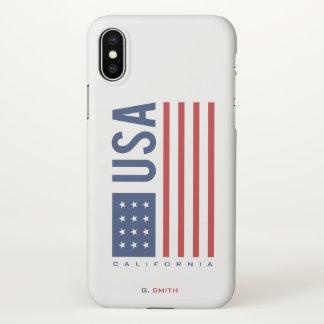 Monogram. US American Flag. California. iPhone X Case