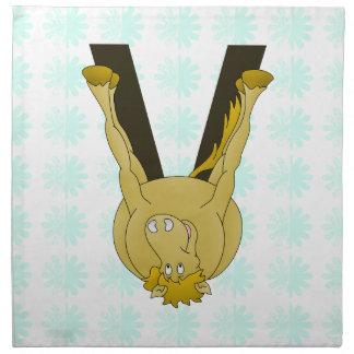 Monogram V Cute Horse Personalised Printed Napkin