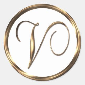 Monogram V Faux Bronze Round Sticker