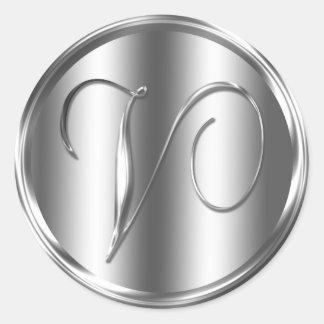 Monogram V Silver Color Round Sticker