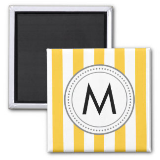 Monogram Vertical Stripes Magnet - yellow
