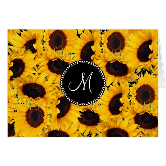 Monogram Vibrant Beautiful Sunflowers Floral Card