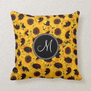 Monogram Vibrant Beautiful Sunflowers Floral Cushion