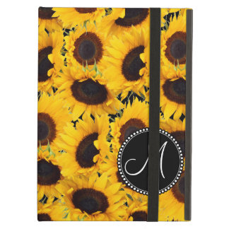 Monogram Vibrant Beautiful Sunflowers Floral iPad Air Case