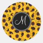 Monogram Vibrant Beautiful Sunflowers Floral Round Sticker