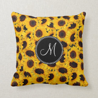 Monogram Vibrant Beautiful Sunflowers Floral Throw Pillow
