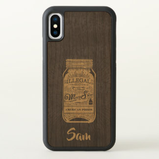 Monogram. Vintage Americana Moonshine Mason Jar iPhone X Case