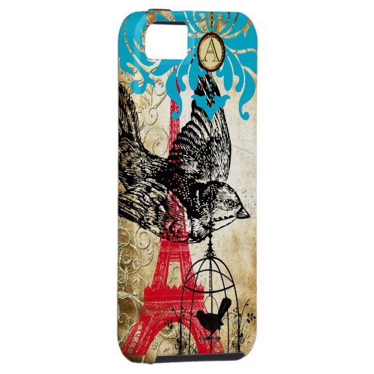 Monogram Vintage Bird Effiel Tower Damask iPhone iPhone 5 Covers