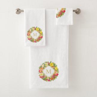 Monogram Vintage Floral Wreath Towel Set