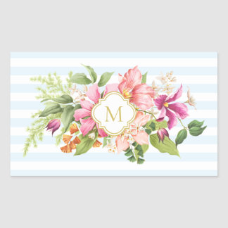 Monogram Vintage Flowers Pink Blue Pastel Stickers