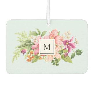 Monogram Vintage Flowers Pink Pastel Air Freshener