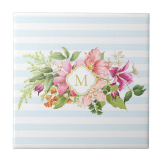 Monogram Vintage Flowers Pink Pastel Ceramic Tile