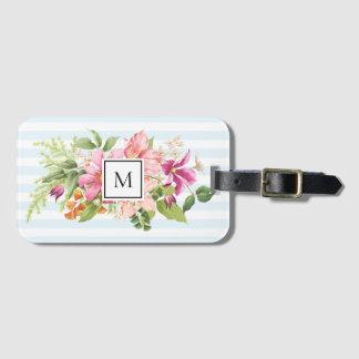 Monogram Vintage Flowers Pink Pastel Luggage Tag