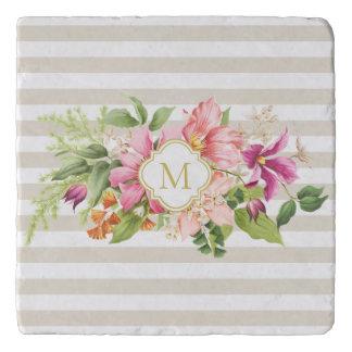 Monogram Vintage Flowers Pink Pastel Stone Trivet