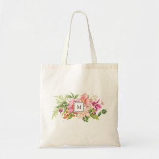 Monogram Vintage Flowers Pink Pastel Tote Bag