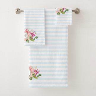 Monogram Vintage Flowers Pink Pastel Towel Set