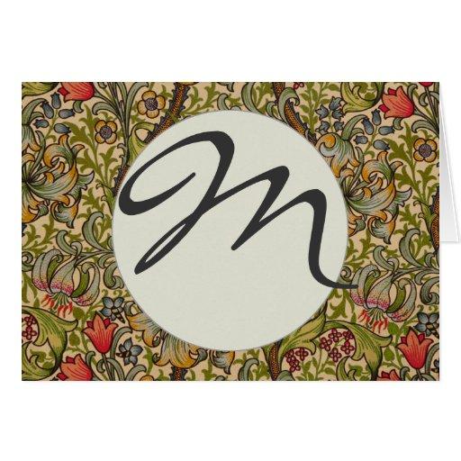 Monogram Vintage Golden Lilly Floral Design Card