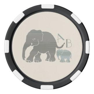 Monogram Vintage Gray and Olive Elephants Poker Chips