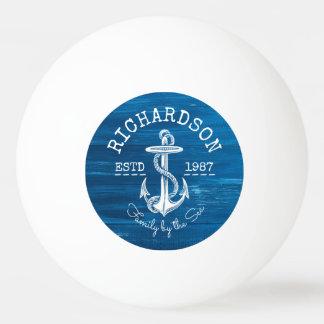 Monogram Vintage Nautical Anchor Blue Painted Wood