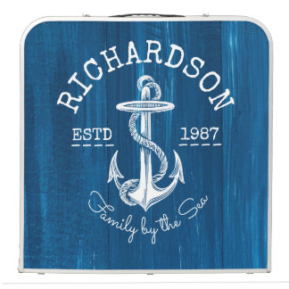 Monogram Vintage Nautical Anchor Blue Painted Wood Beer Pong Table