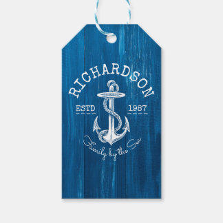 Monogram Vintage Nautical Anchor Blue Painted Wood Gift Tags
