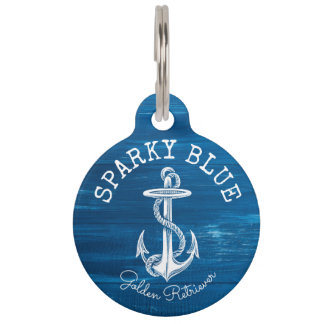 Monogram Vintage Nautical Anchor Blue Painted Wood Pet ID Tag
