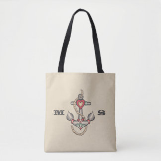 Monogram. Vintage Nautical Heart Anchor Tattoo. Tote Bag