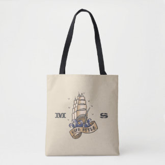Monogram. Vintage Nautical Ship Tattoo. Tote Bag