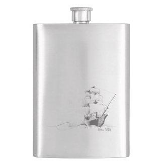 Monogram. Vintage Nautical Theme Sketch. Hip Flask