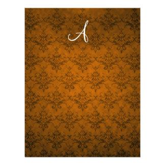 Monogram vintage orange damask 21.5 cm x 28 cm flyer