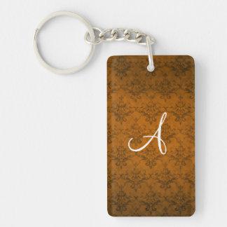Monogram vintage orange damask rectangular acrylic key chain
