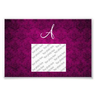 Monogram vintage pink damask art photo