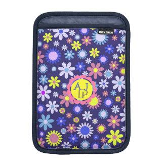 Monogram Vintage Pop Art Style Floral Pattern iPad Mini Sleeve