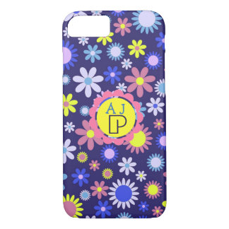 Monogram Vintage Pop Art Style Floral Pattern iPhone 8/7 Case