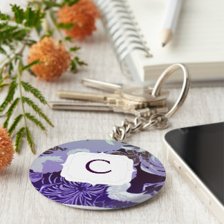 Monogram Vintage purple flowers and birds Key Ring