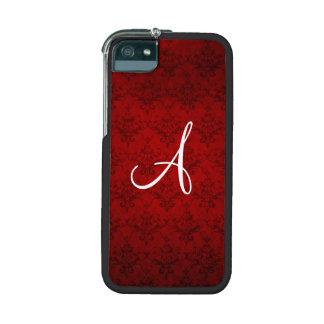 Monogram vintage red damask iPhone 5 cases