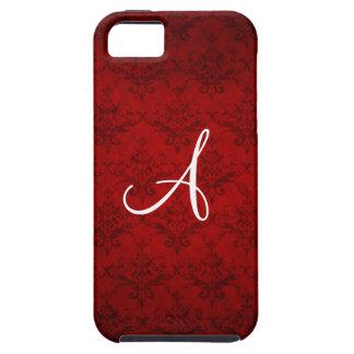 Monogram vintage red damask iPhone 5 cover