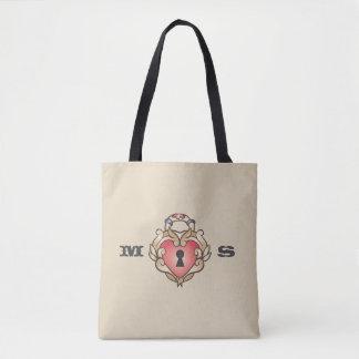 Monogram. Vintage Red Heart Lock Tattoo. Tote Bag